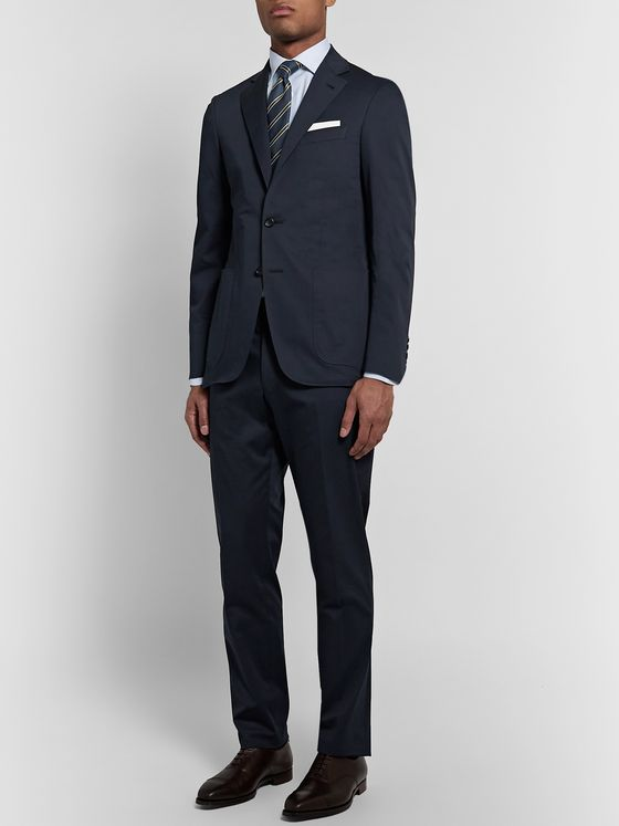 Canali Navy Slim-Fit Cotton-Blend Suit Trousers