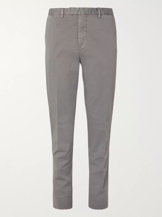 Boglioli Grey Slim-Fit Stretch-Cotton Twill Suit Trousers