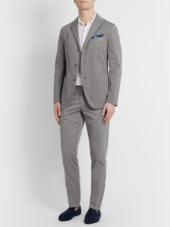 Boglioli Slim-Fit Stretch Cotton-Twill Suit Trousers