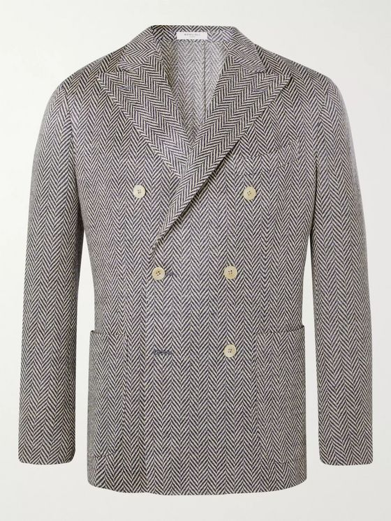 Boglioli Slim-Fit Unstructured Double-Breasted Herringbone Linen Blazer