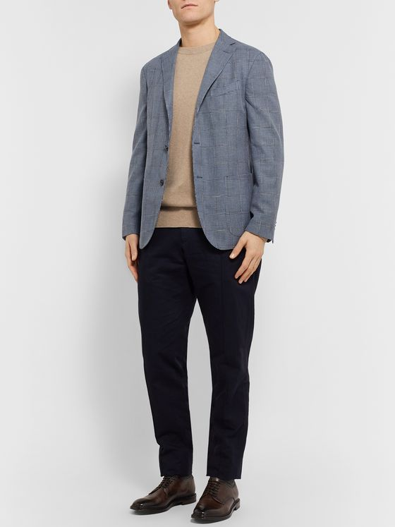 Boglioli Blue Slim-Fit Unstructured Houndstooth Woven Blazer