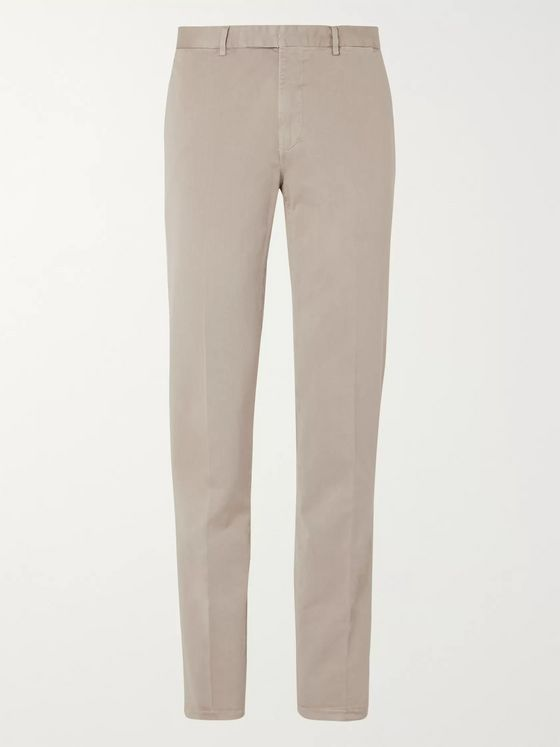 Boglioli Beige Slim-Fit Tapered Micro-Herringbone Cotton-Blend Suit Trousers