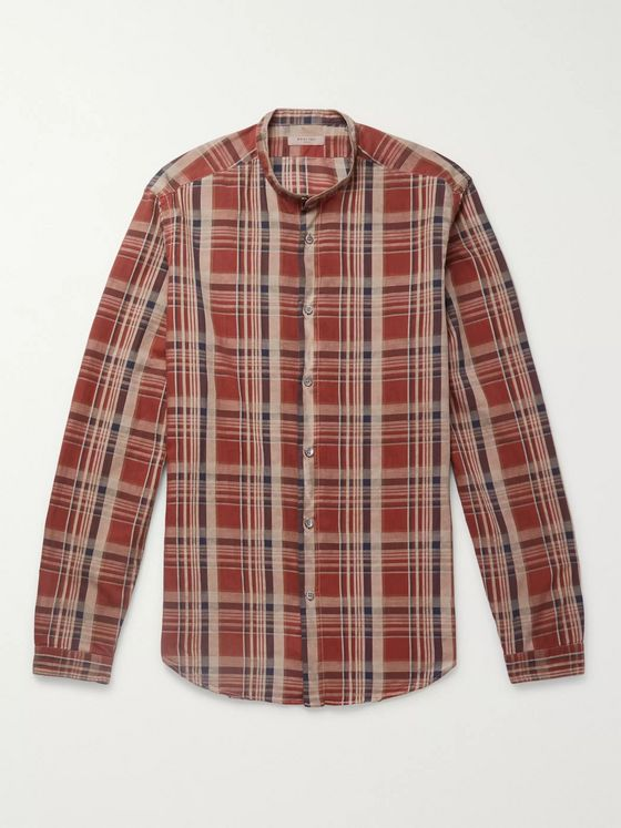 Boglioli Slim-Fit Grandad-Collar Checked Cotton and Linen-Blend Shirt