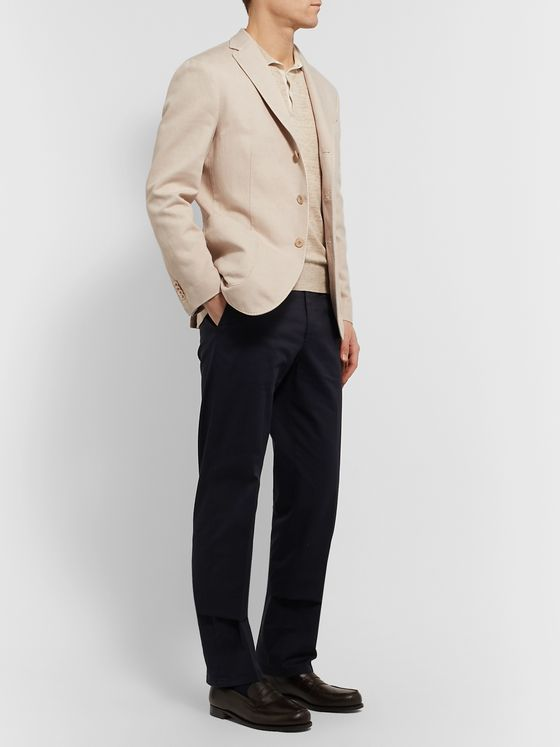 Boglioli Slim-Fit Micro-Herringbone Cotton and Linen-Blend Blazer
