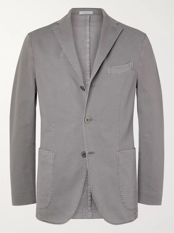 Boglioli Grey K-Jacket Slim-Fit Unstructured Stretch-Cotton Twill Suit Jacket
