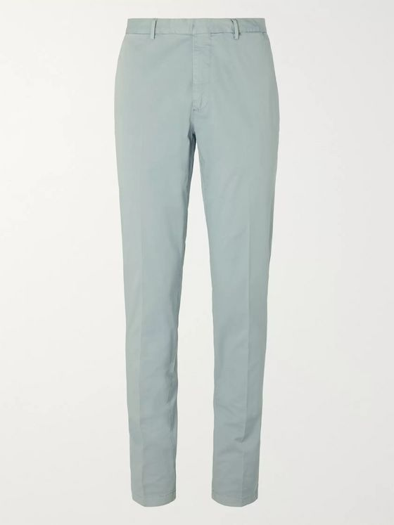 Boglioli Grey-Green Slim-Fit Stretch-Cotton Twill Suit Trousers