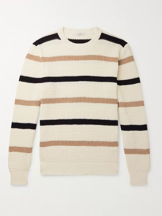 Boglioli Striped Waffle-Knit Cotton Sweater
