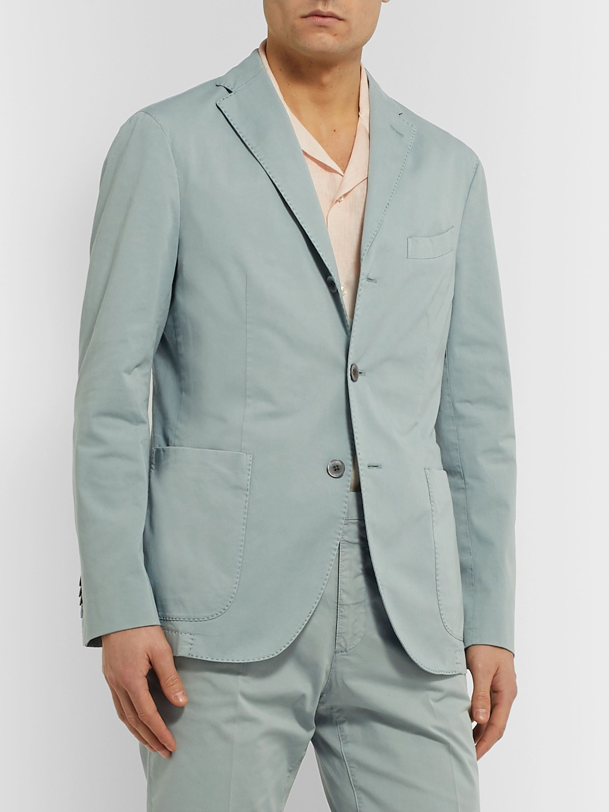 Boglioli Grey-Green Slim-Fit Stretch-Cotton Twill Suit Jacket