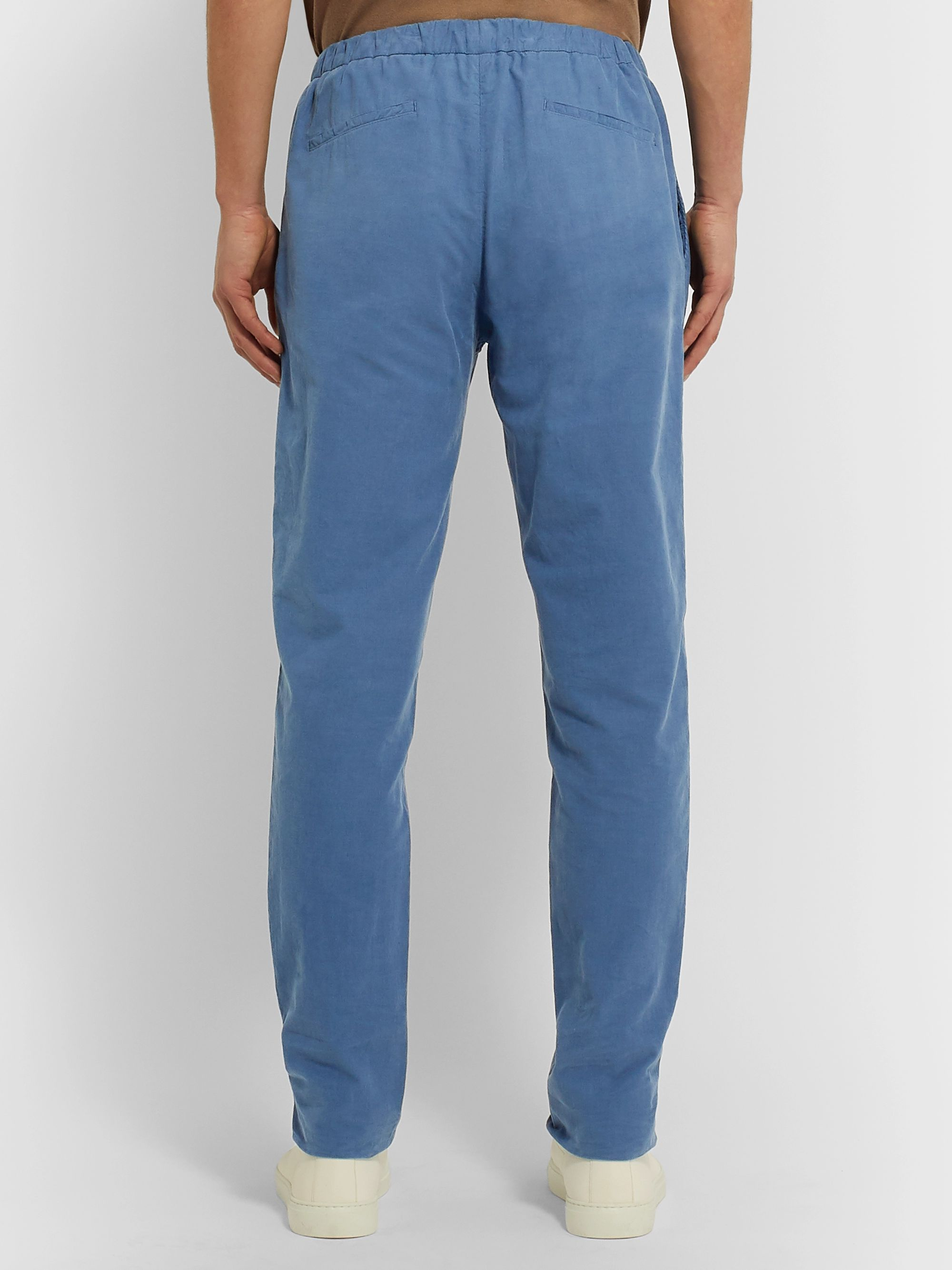 Boglioli Light-Blue Slim-Fit Cotton-Corduroy Drawstring Suit Trousers