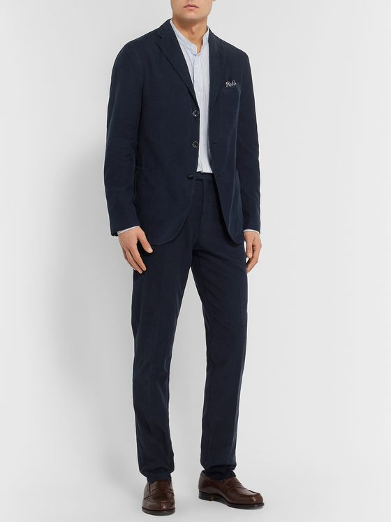 Boglioli Navy Slim-Fit Cotton-Corduroy Suit Trousers