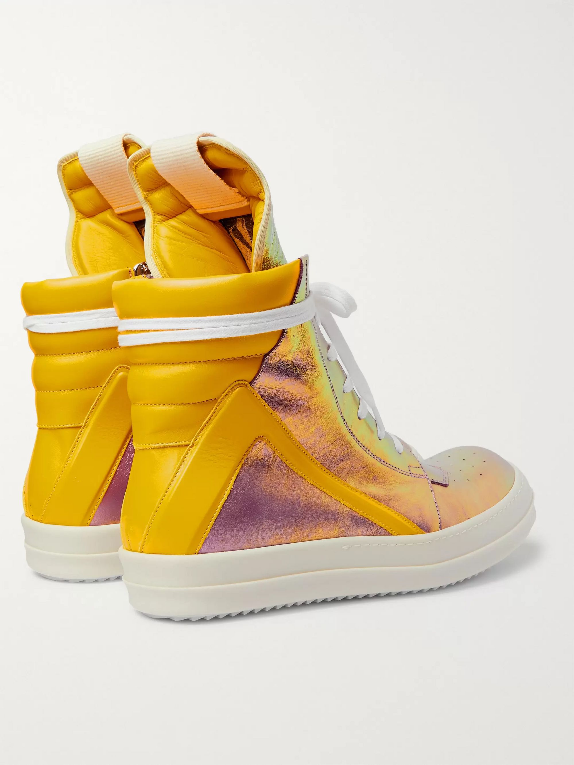 Rick Owens Geobasket Two-Tone Metallic Leather High-Top Sneakers