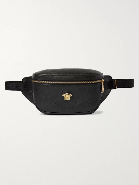 Versace Logo-Embellished Textured-Leather Belt Bag