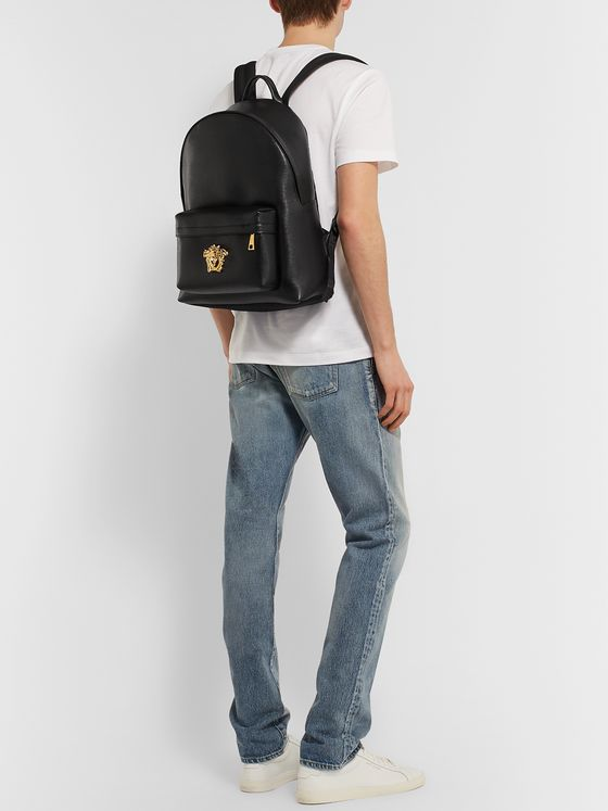 Versace Logo-Embellished Full-Grain Leather Backpack