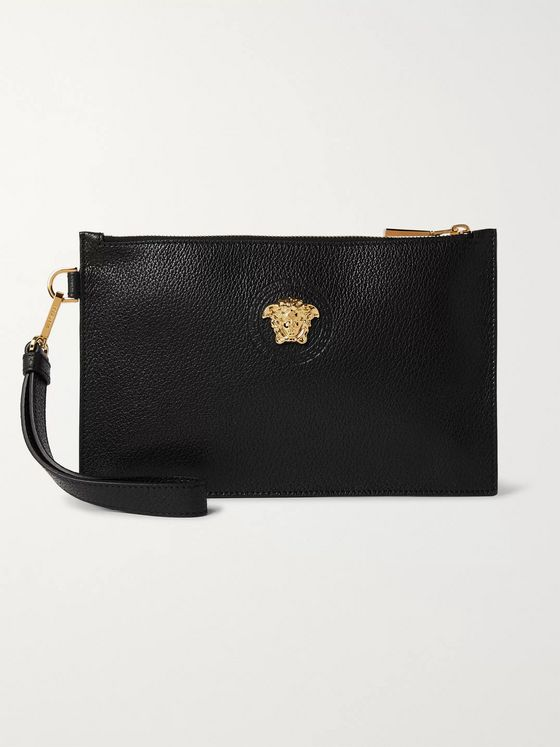 Versace Logo-Embellished Full-Grain Leather Pouch