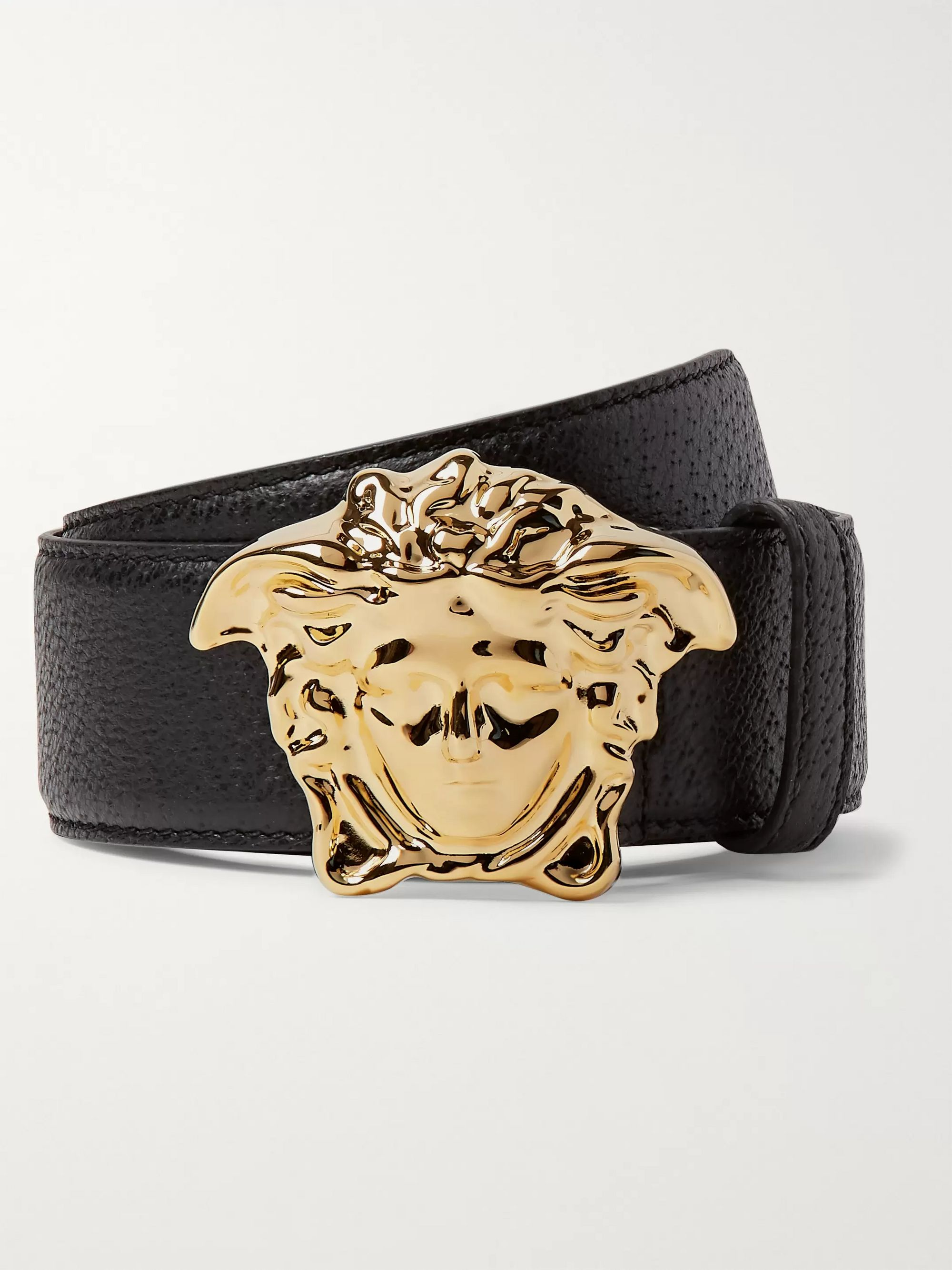 Versace 4cm Black Full-Grain Leather Belt