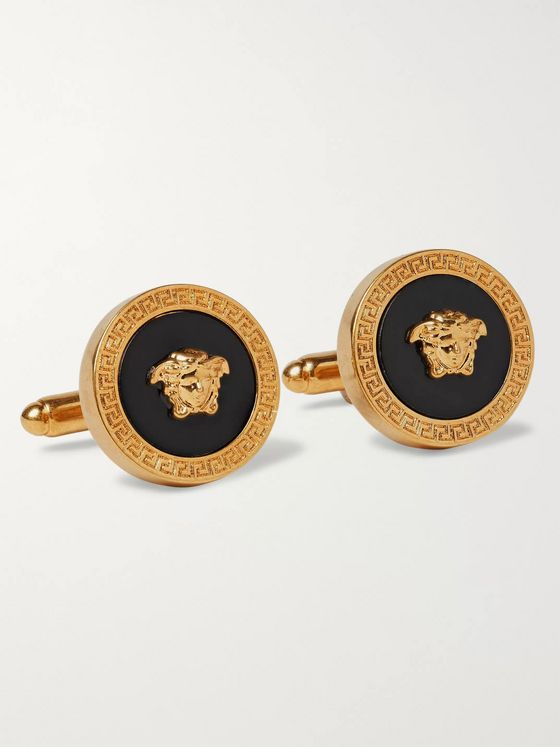 Versace Gold-Tone and Enamel Cufflinks