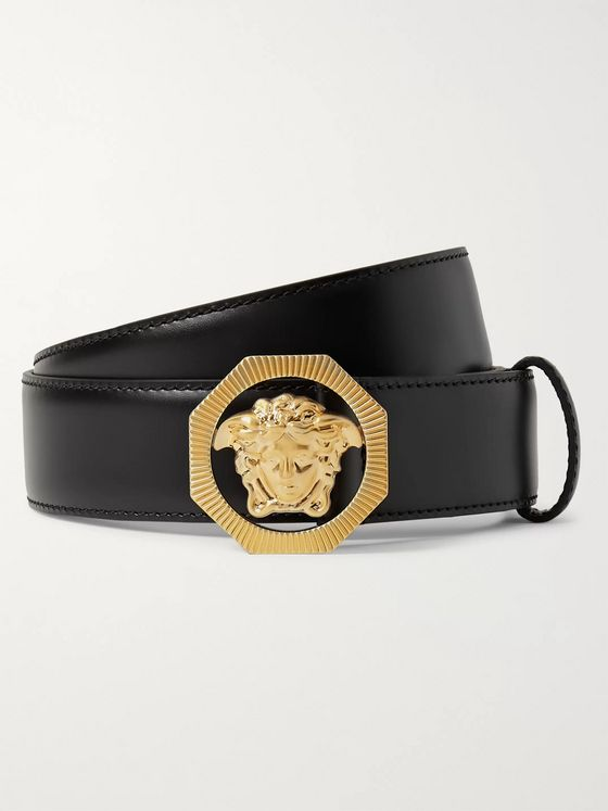 Versace 3cm Black Leather Belt