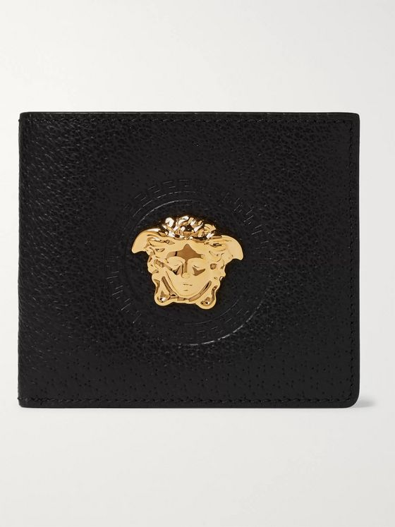 Versace Embellished Full-Grain Leather Bifold Wallet