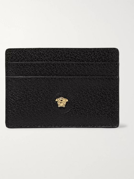 Versace Logo-Embellished Full-Grain Leather Cardholder