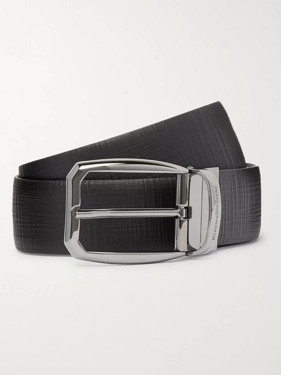 Ermenegildo Zegna 3.5cm Black Reversible Cross-Grain Leather Belt