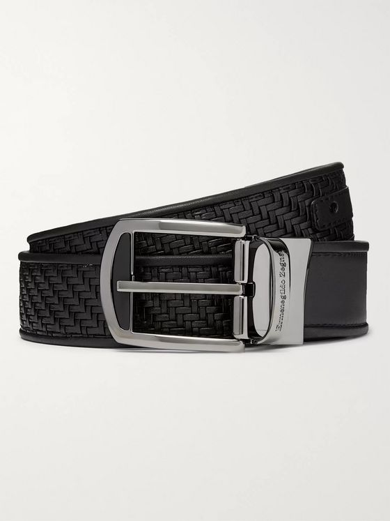 Ermenegildo Zegna 3cm Black Reversible Pelle Tessuta and Smooth Leather Belt