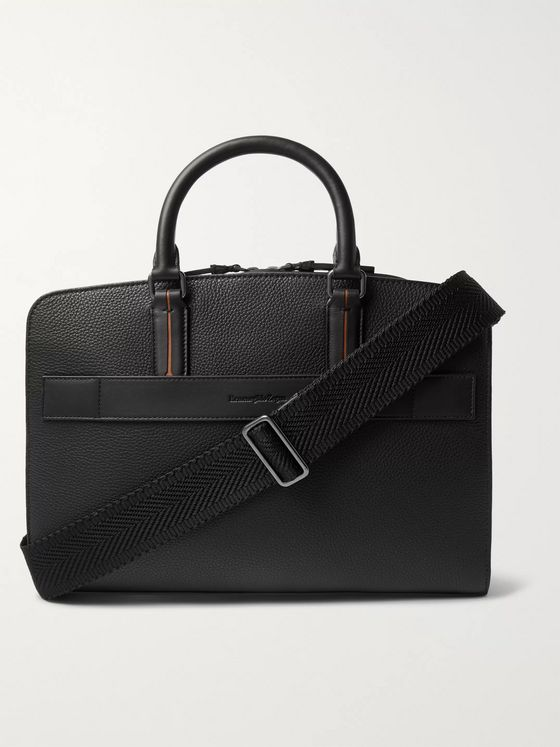 Ermenegildo Zegna Contrast-Trimmed Full-Grain Leather Briefcase
