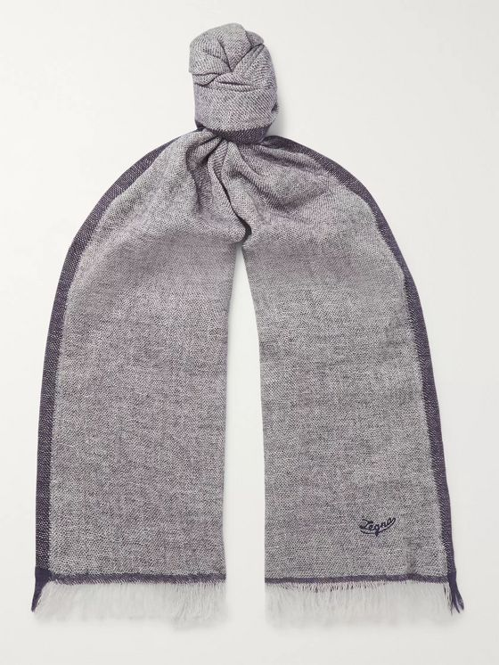 Ermenegildo Zegna Fringed Linen, Cashmere, Silk and Wool-Blend Scarf
