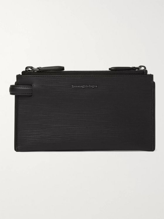 Ermenegildo Zegna Stuoia Textured-Leather Pouch