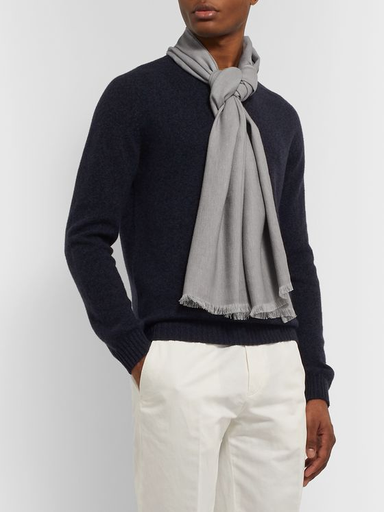 Ermenegildo Zegna Fringed Linen, Cashmere and Silk-Blend Scarf