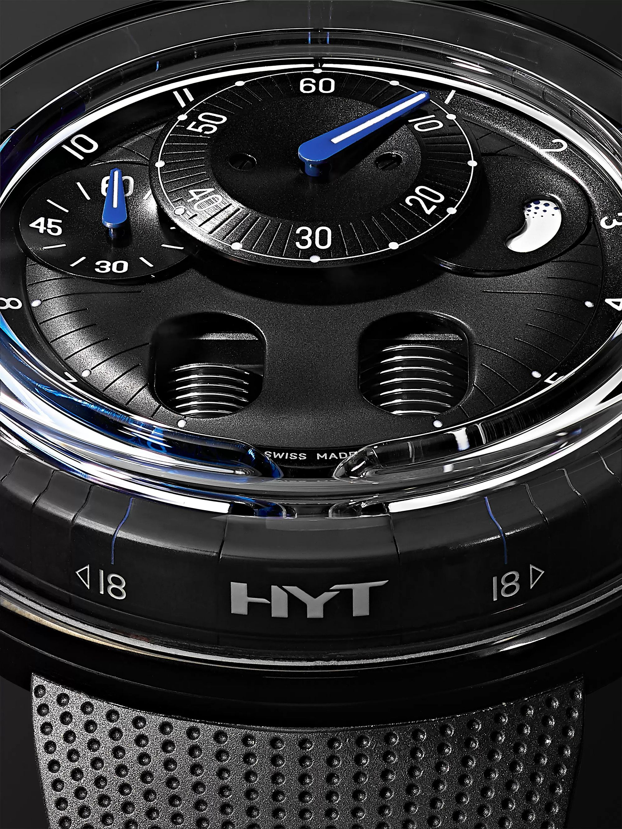 HYT H0 Hand-Wound 48.8mm Stainless Steel and Rubber Watch, Ref. No. 048-TT-91-BF-RU