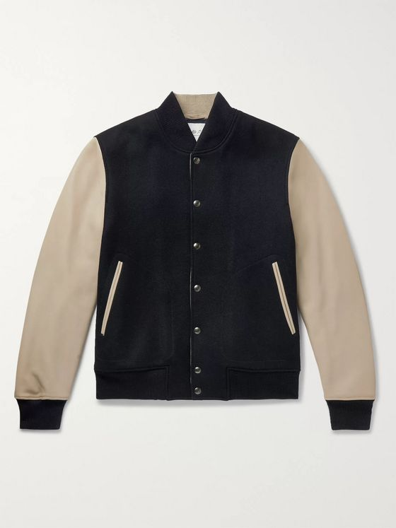 Mr P. Melton Wool and Leather Bomber Jacket