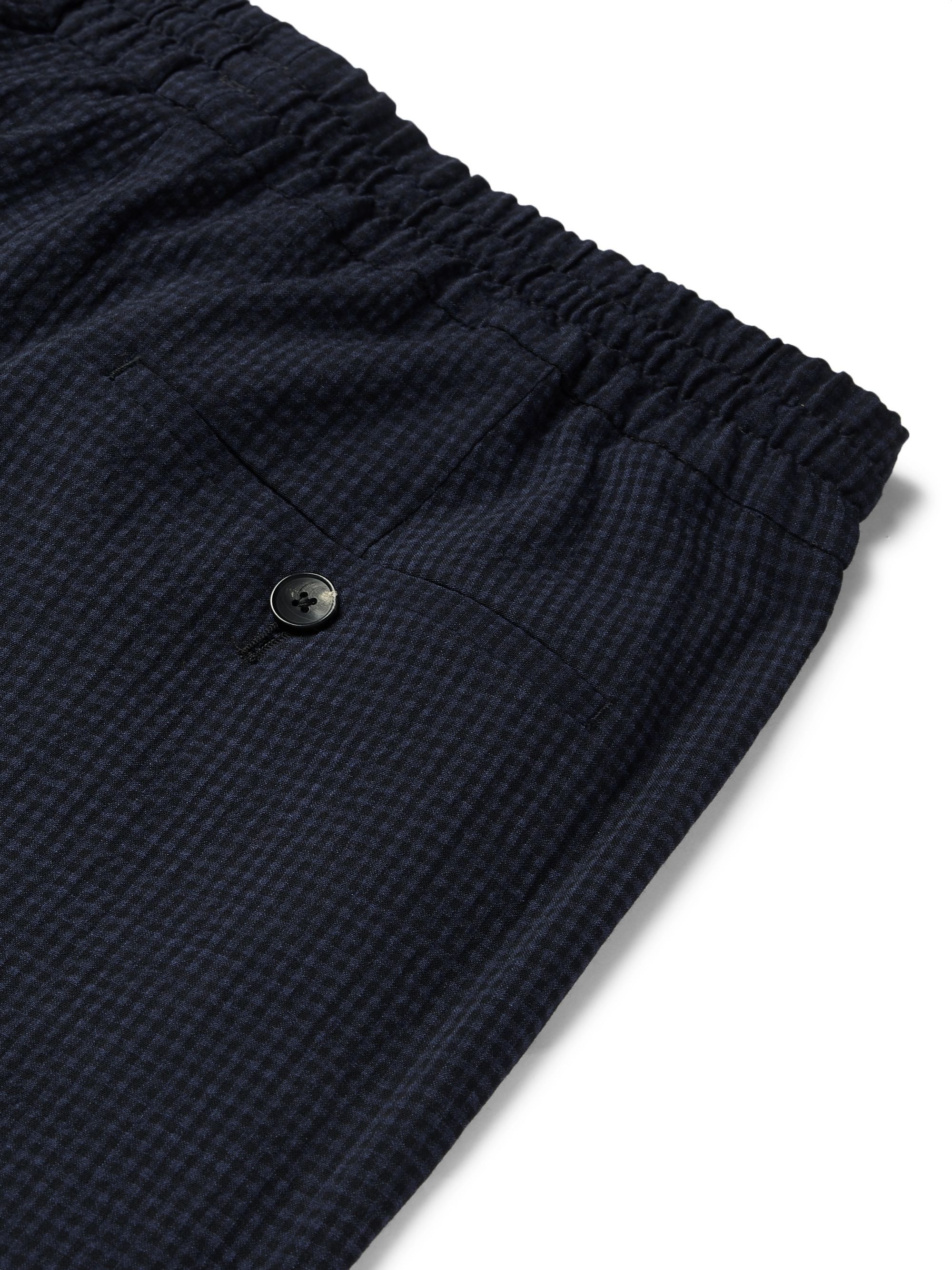 Mr P. Gingham Wool-Blend Seersucker Drawstring Trousers