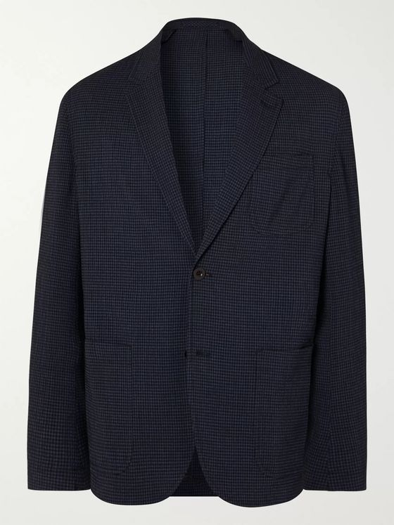 Mr P. Unstructured Gingham Wool-Blend Seersucker Blazer