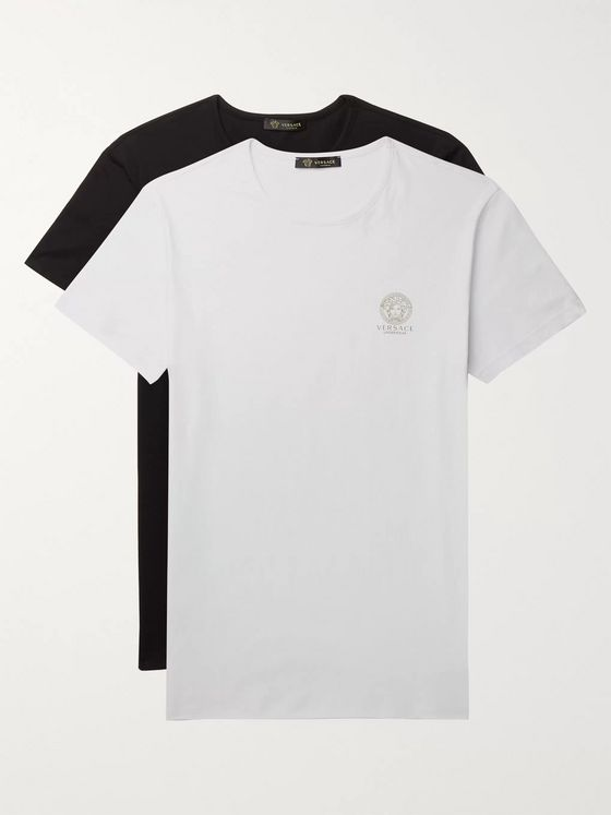 Versace Two-Pack Slim-Fit Logo-Print Stretch-Cotton Jersey T-Shirts