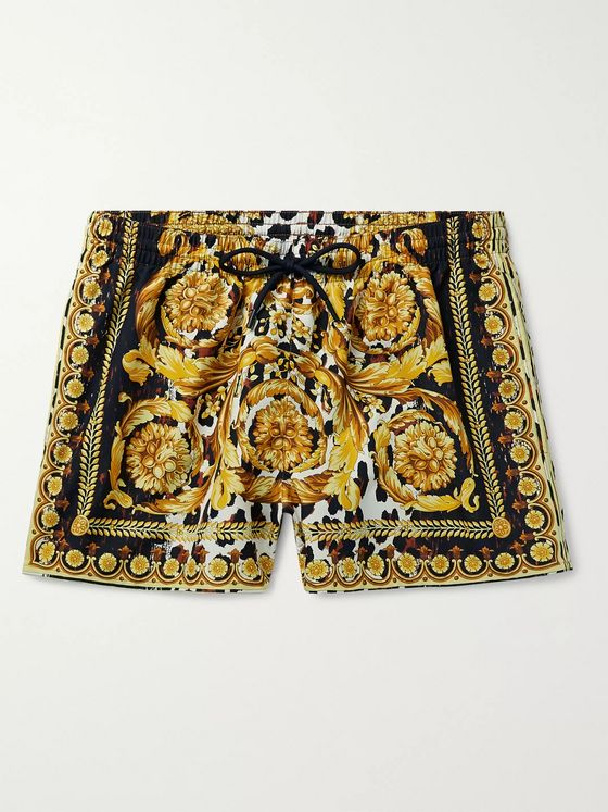 Versace Slim-Fit Short-Length Printed Swim Shorts