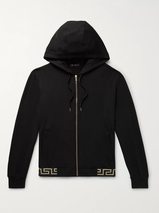 Versace Logo-Jacquard Stretch-Modal Jersey Zip-Up Hoodie