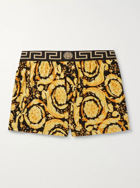 Versace Slim-Fit Printed Stretch-Cotton Boxer Shorts