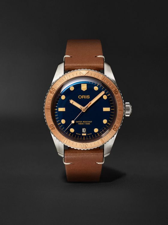 ORIS Divers Automatic 40mm Bronze, Stainless Steel and Leather Watch, Ref. No. 01 733 7707 4355-07 5 20 45