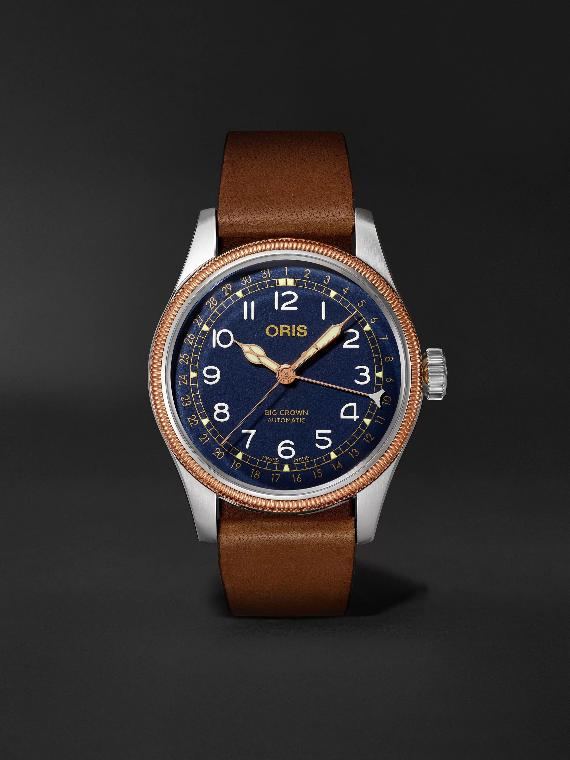 Oris Big Crown Pointer Date Automatic 40mm Stainless Steel, Bronze and Leather Watch, Ref. No. 01 754 7741 4365-07 5 20 58
