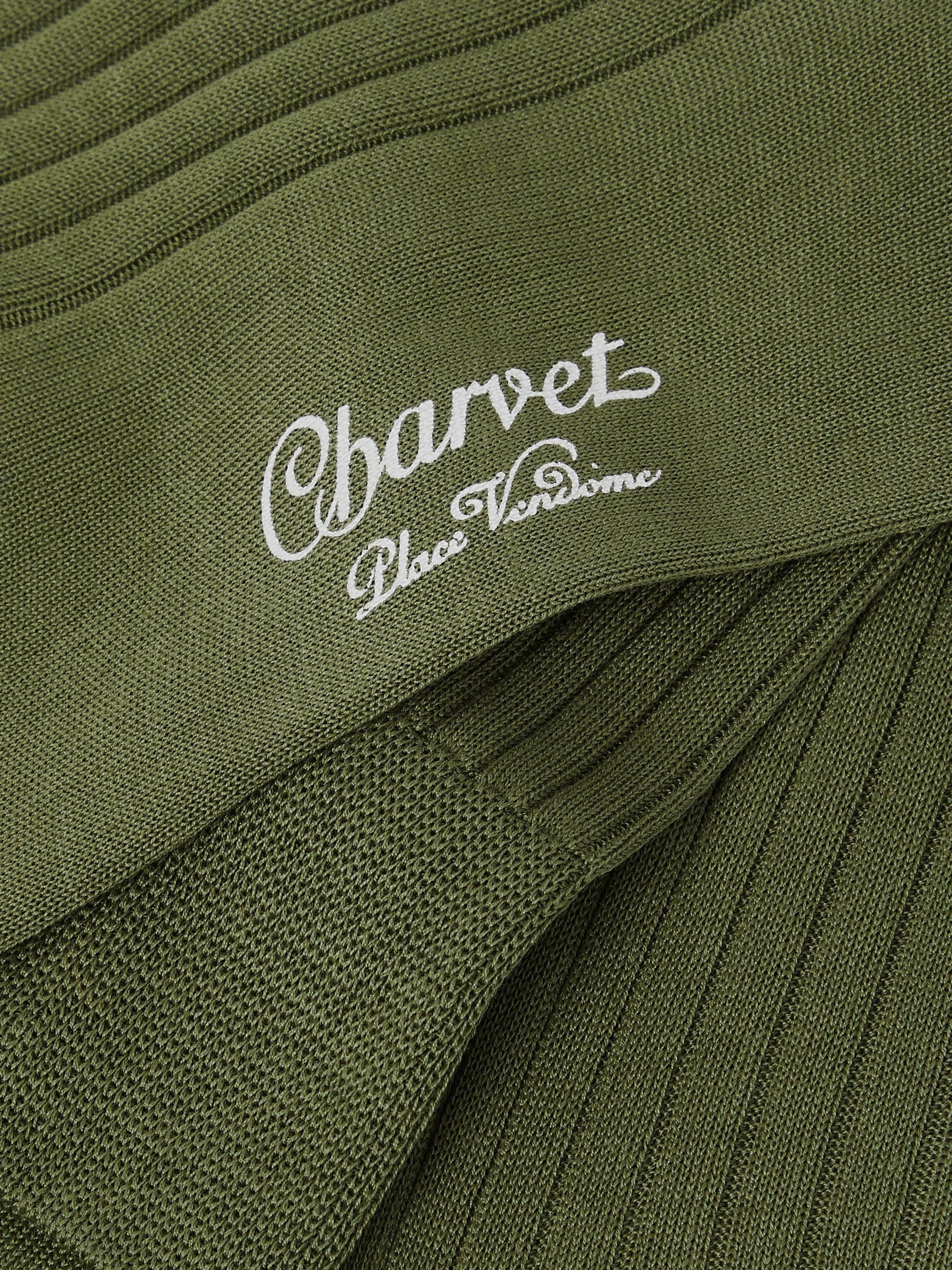 Army Green Ribbed Cotton Socks | Charvet
