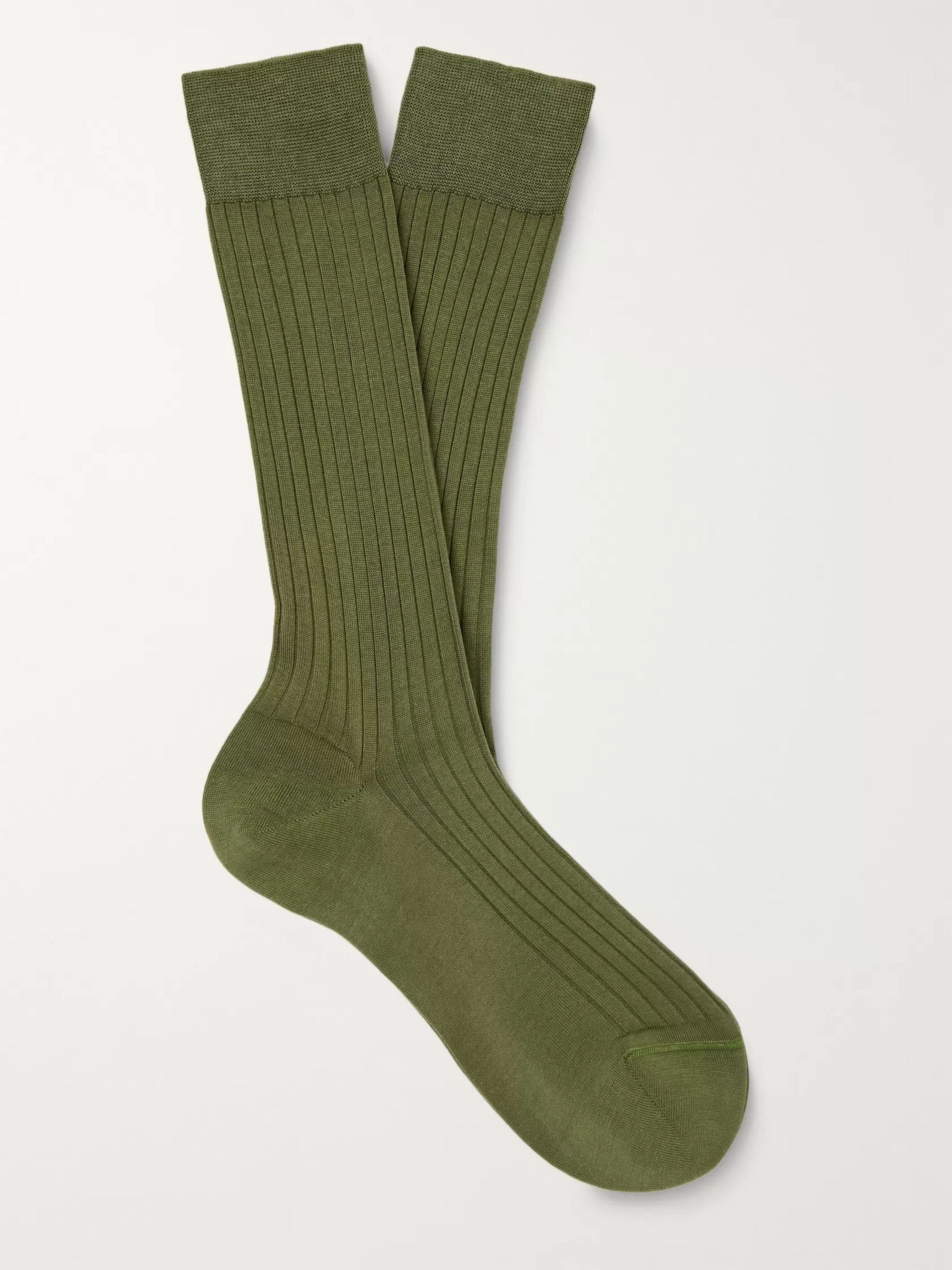 Army Green Ribbed Cotton Socks | Charvet