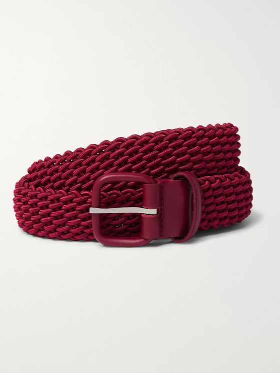 Charvet 3cm Burgundy Leather-Trimmed Woven Elastic Belt