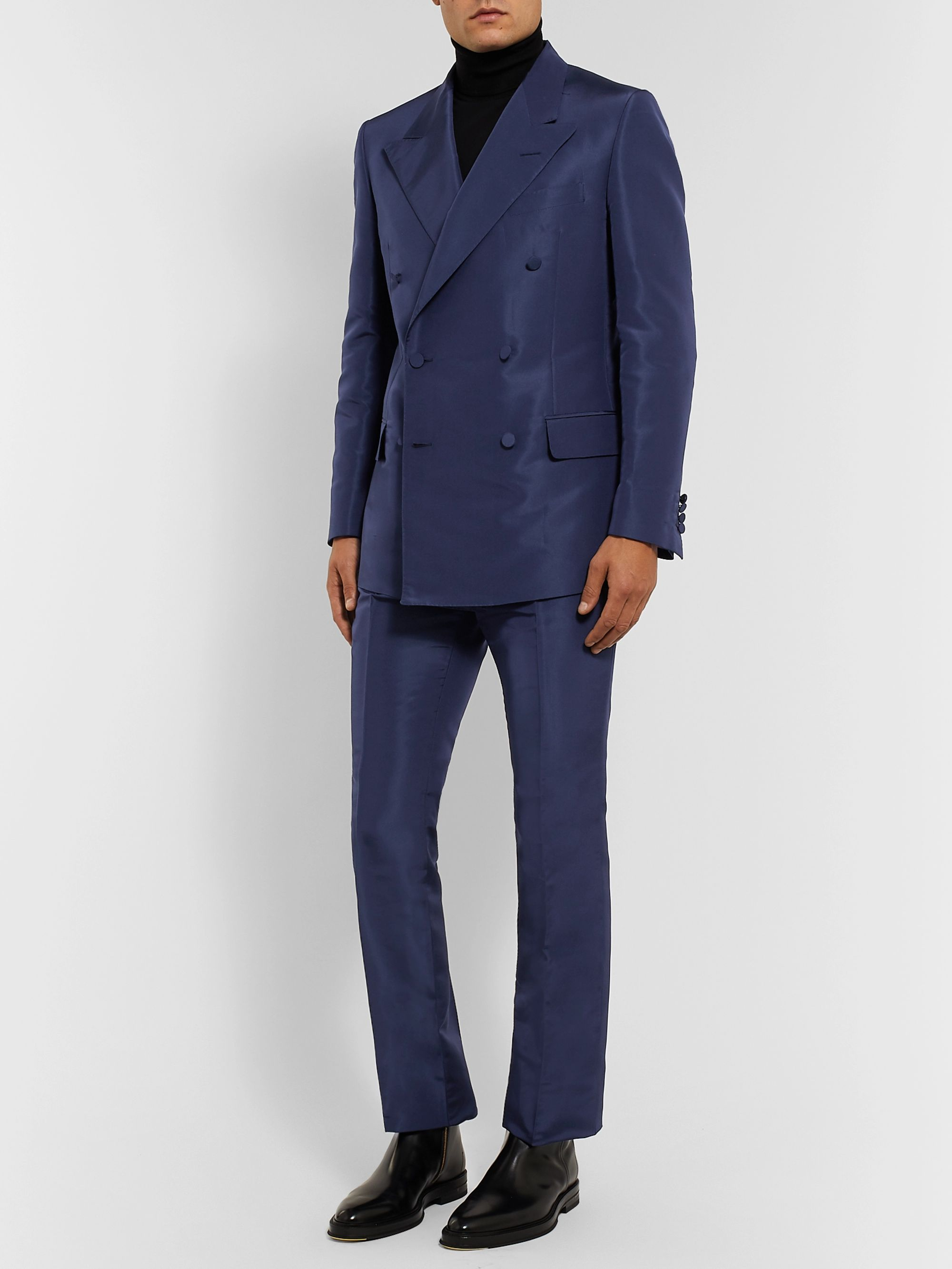 Dunhill Navy Slim-Fit Mulberry Silk Suit Trousers