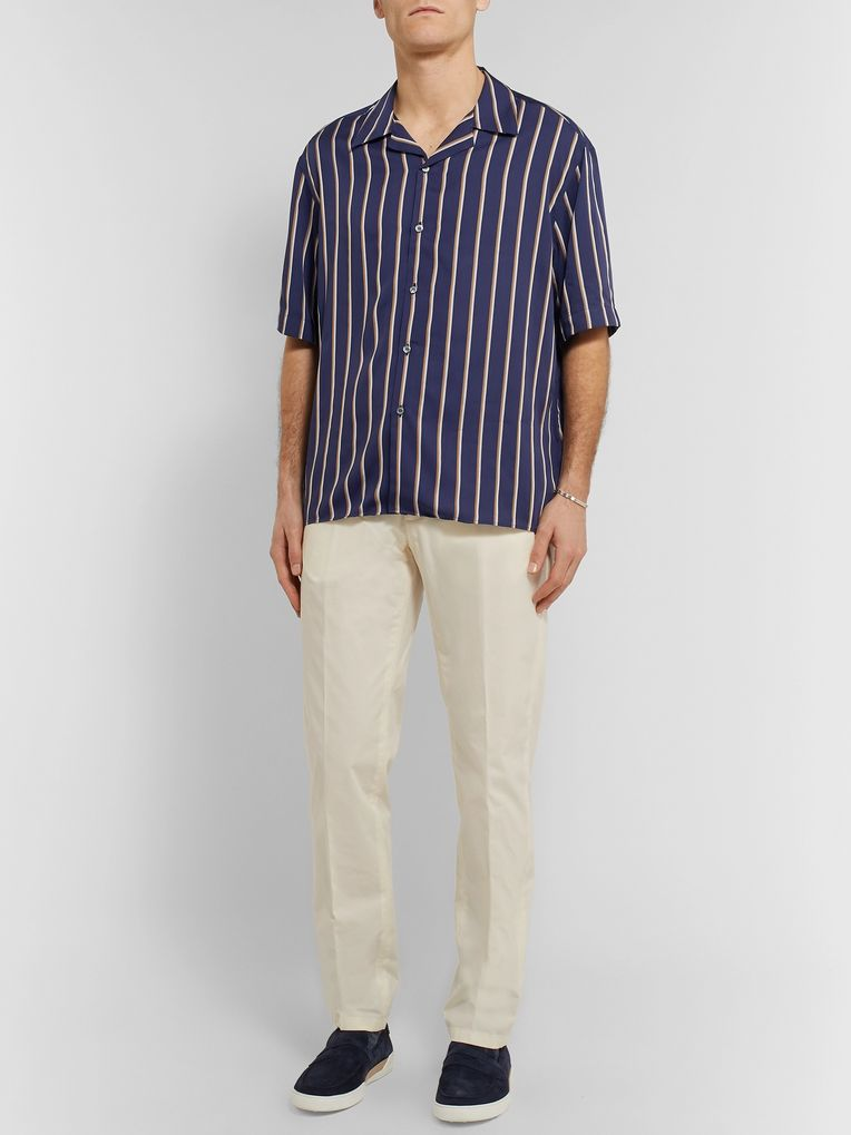 Dunhill Camp-Collar Striped Lyocell and Cotton-Blend Shirt