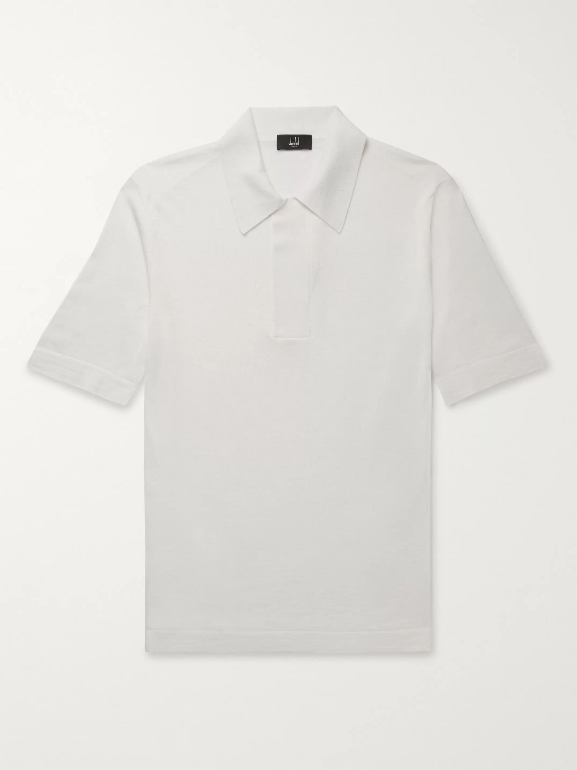 Dunhill Merino Wool and Mulberry Silk-Blend Polo Shirt
