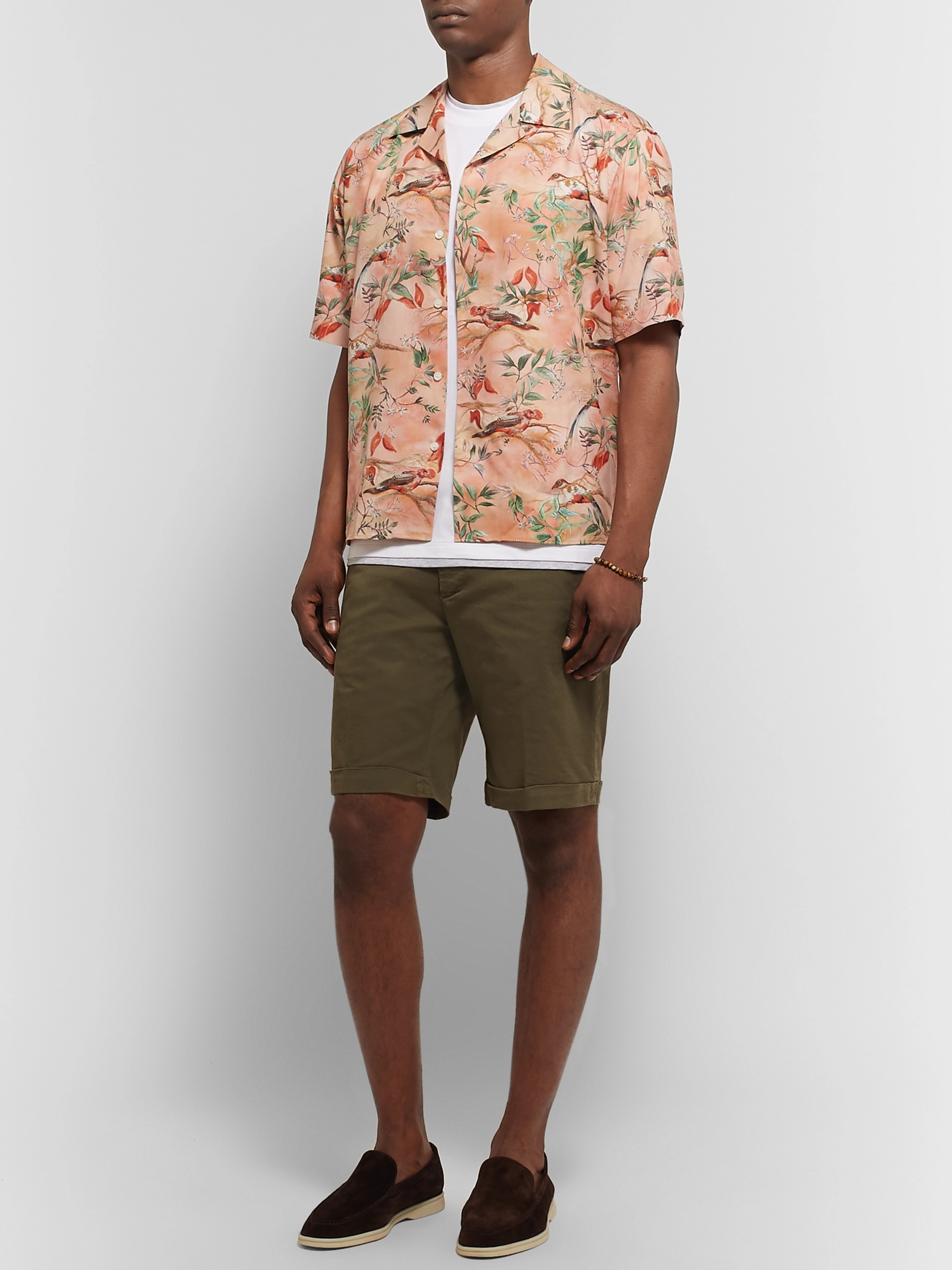 Dunhill Aquarium Camp-Collar Mulberry Silk Shirt