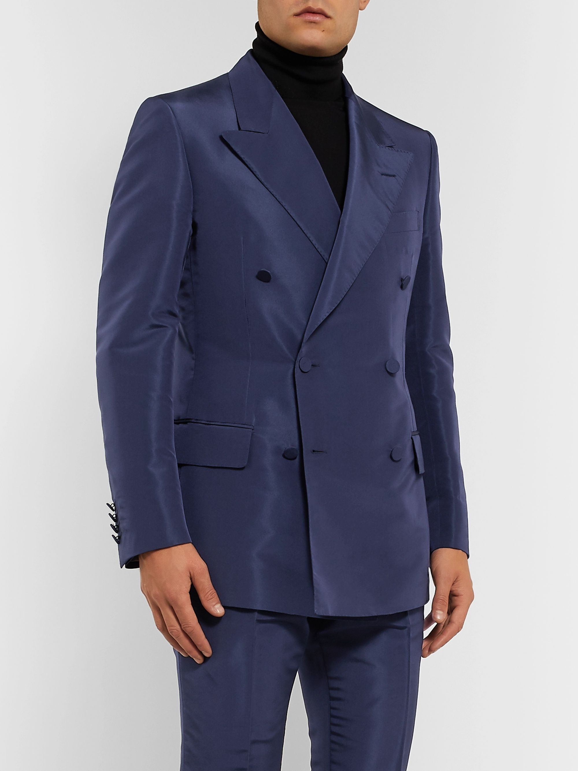 Dunhill Navy Slim-Fit Double-Breasted Mulberry Silk Suit Jacket
