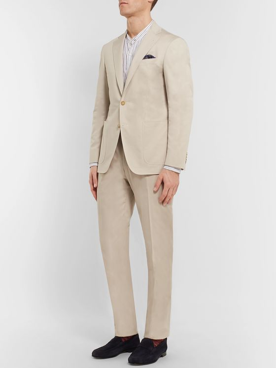 Canali Stone Stretch-Cotton Suit Trousers