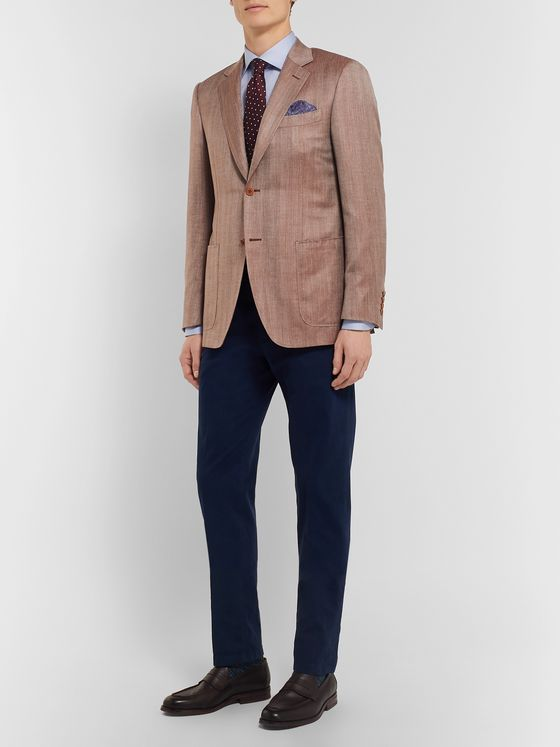 Canali Brown Slim-Fit Unstructured Herringbone Wool, Silk and Linen-Blend Blazer