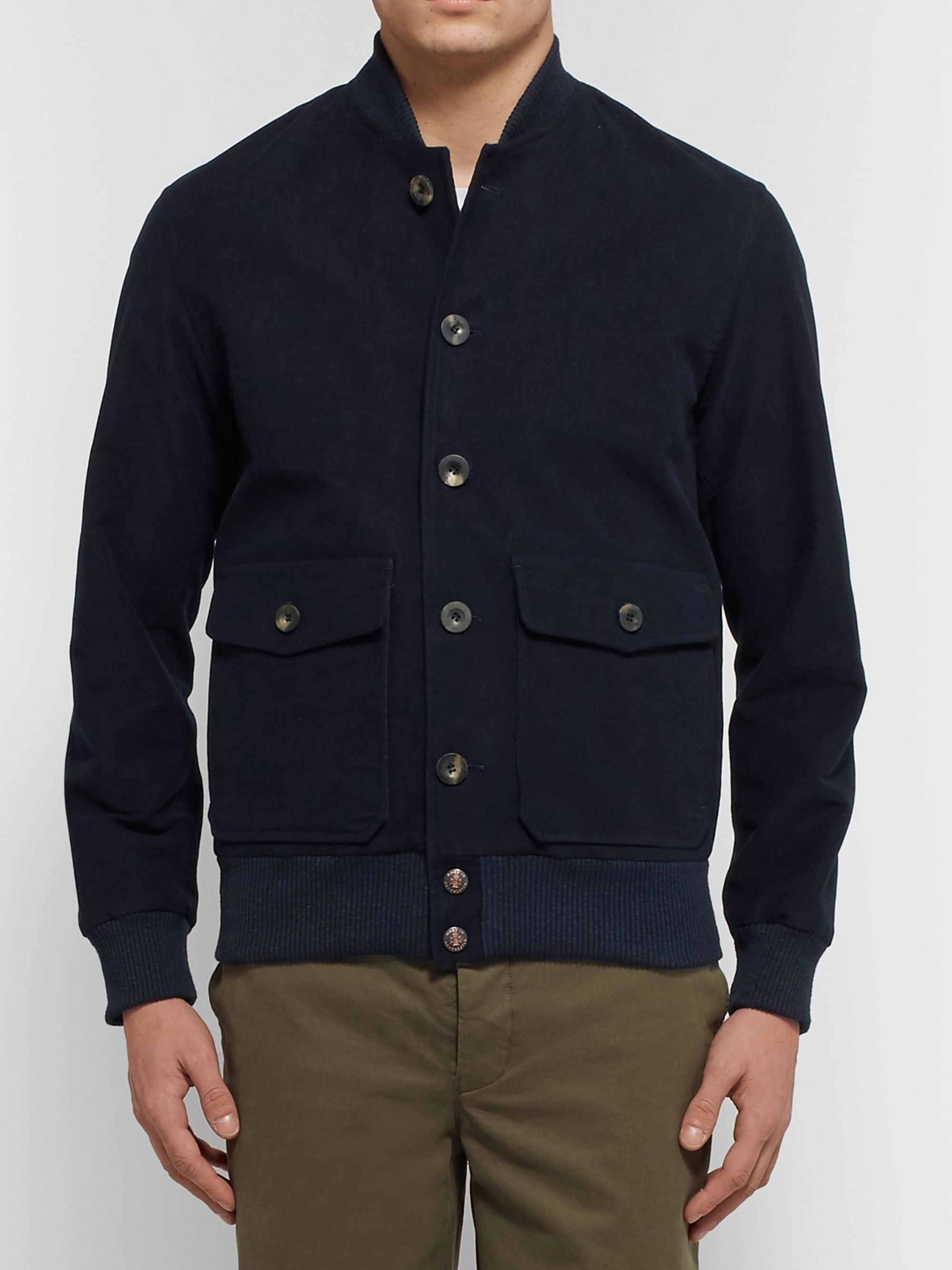 Private White V.C. Slim-Fit Stretch-Cotton Moleskin Bomber Jacket
